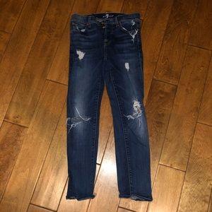 7 For All Mankind blue wash skinny boyfriend jeans